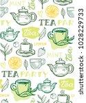 hand drawn doodle tea pattern | Shutterstock .eps vector #1028229733