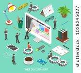 web development flat isometric... | Shutterstock .eps vector #1028245027