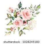 watercolor flowers. floral... | Shutterstock . vector #1028245183