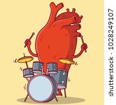 heart playing drums vector... | Shutterstock .eps vector #1028249107