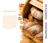 Fresh bread  composition with copy space - stock photo