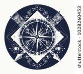 rose compass t shirt design.... | Shutterstock .eps vector #1028260453