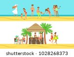 happy people on tropical beach... | Shutterstock .eps vector #1028268373
