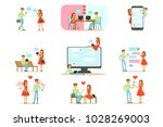 people finding love and dating...   Shutterstock .eps vector #1028269003