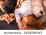 family with woman and two dogs... | Shutterstock . vector #1028289367