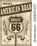 route 66 poster in vintage...   Shutterstock .eps vector #1028291227