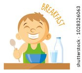 smiling boy. breakfast vector... | Shutterstock .eps vector #1028326063