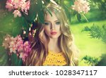 beautiful young model spring... | Shutterstock . vector #1028347117