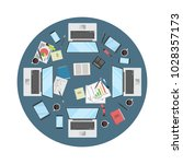 office meeting circle table... | Shutterstock .eps vector #1028357173
