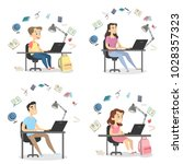 people studying set. students... | Shutterstock .eps vector #1028357323