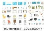 office furniture set. tables... | Shutterstock .eps vector #1028360047