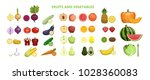 fruits and vegetables set on... | Shutterstock .eps vector #1028360083