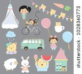 cartoon icon collection with... | Shutterstock .eps vector #1028360773