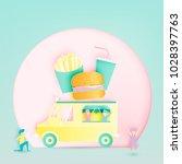 hamburger food truck in paper... | Shutterstock .eps vector #1028397763