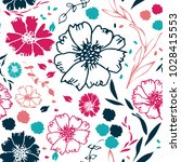 pink and blue floral seamless... | Shutterstock .eps vector #1028415553
