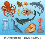 fishes set or sea creature... | Shutterstock .eps vector #1028432977