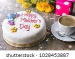 "celebration cake writing ""happy ... | Shutterstock . vector #1028453887"