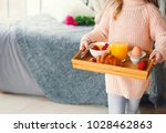 small girl holding tray with... | Shutterstock . vector #1028462863