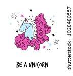 cartoon unicorn head... | Shutterstock .eps vector #1028480557