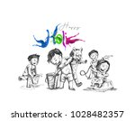 holi celebrations   boy playing ... | Shutterstock .eps vector #1028482357