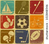 set of Vintage Sport separate  Labels - Retro Signs with Grunge Effect in color - vector illustration - stock vector
