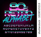 80's retro alphabet font. metal ... | Shutterstock .eps vector #1028515213