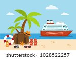 cruise ship on the sea and... | Shutterstock .eps vector #1028522257