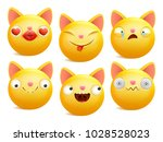 set of yellow cartoon emoji cat ... | Shutterstock .eps vector #1028528023