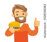 joyful caucasian white man... | Shutterstock .eps vector #1028540383