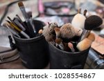cosmetic brush. cosmetic set is ... | Shutterstock . vector #1028554867
