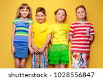 happy joyful children having... | Shutterstock . vector #1028556847