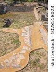 ancient ruins of great baths ...   Shutterstock . vector #1028558023