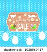 happy easter sale banner with... | Shutterstock .eps vector #1028560417