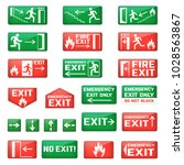 exit vector emergency exit sign ... | Shutterstock .eps vector #1028563867