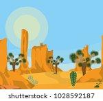 desert landscape cartoon | Shutterstock .eps vector #1028592187