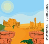 desert landscape cartoon | Shutterstock .eps vector #1028602807