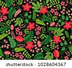 trendy seamless vector floral... | Shutterstock .eps vector #1028604367