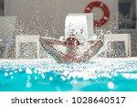 young man enjoying  pool spa...   Shutterstock . vector #1028640517