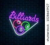 glowing neon signboard of bar... | Shutterstock .eps vector #1028665927