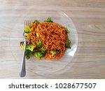spicy korean instant noodles... | Shutterstock . vector #1028677507