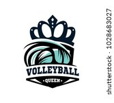 volleyball queen logo vector | Shutterstock .eps vector #1028683027
