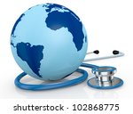 one stethoscope with a world globe (3d render) - stock photo