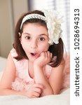 6 or 7 years old little girl... | Shutterstock . vector #1028694313