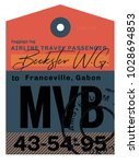 franceville airport luggage tag.... | Shutterstock .eps vector #1028694853