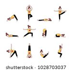 woman practicing yoga. yoga... | Shutterstock .eps vector #1028703037