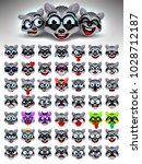 raccoon face emotions. facial... | Shutterstock .eps vector #1028712187