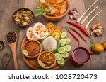 indonesian food lunch menu fish | Shutterstock . vector #1028720473