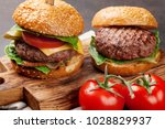 tasty grilled home made burgers ... | Shutterstock . vector #1028829937