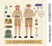 explorer character and...   Shutterstock .eps vector #1028855503