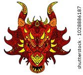 patterned head of the dragon... | Shutterstock . vector #1028886187